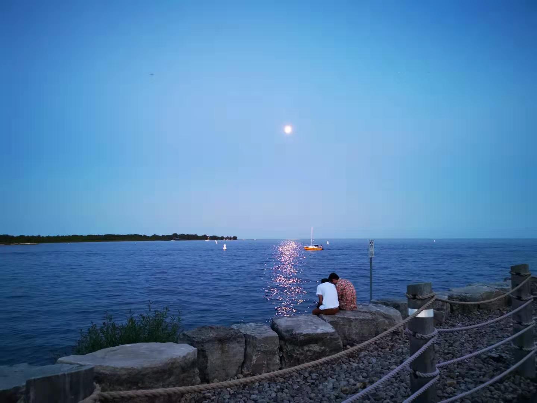 Lake Ontario under Moon